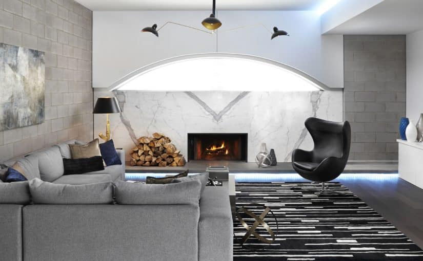 Richmond Living Room Marble fireplace by lux design
