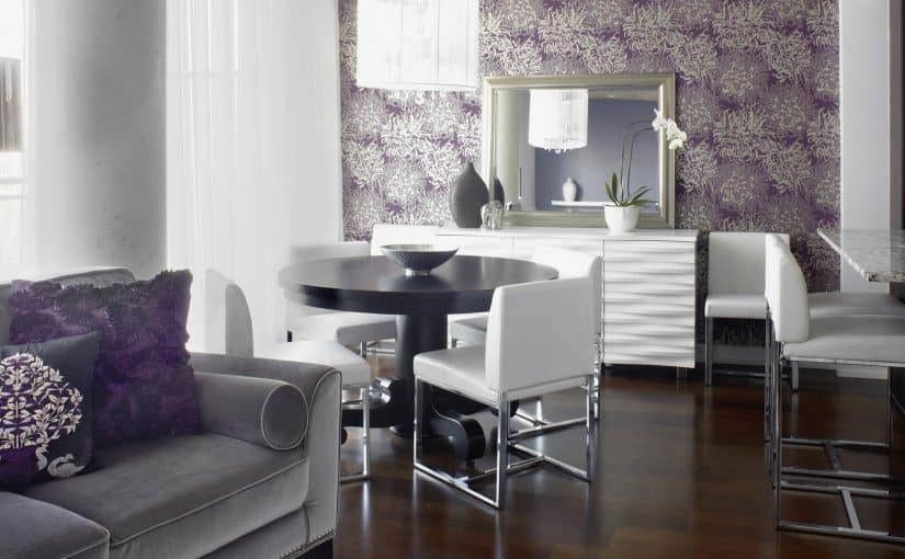 Morrison Street Condo by LUX Design purple wallpaper white console with grey velvet couch