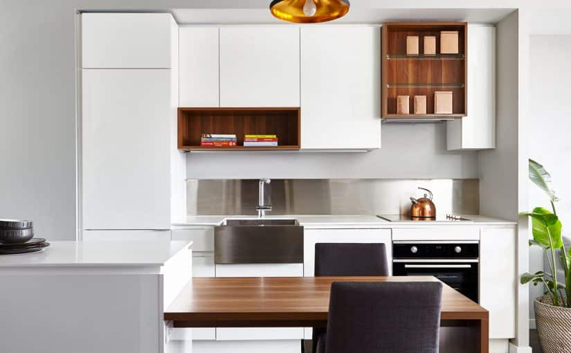 Sorauren _ condo design white and walnut kitchen