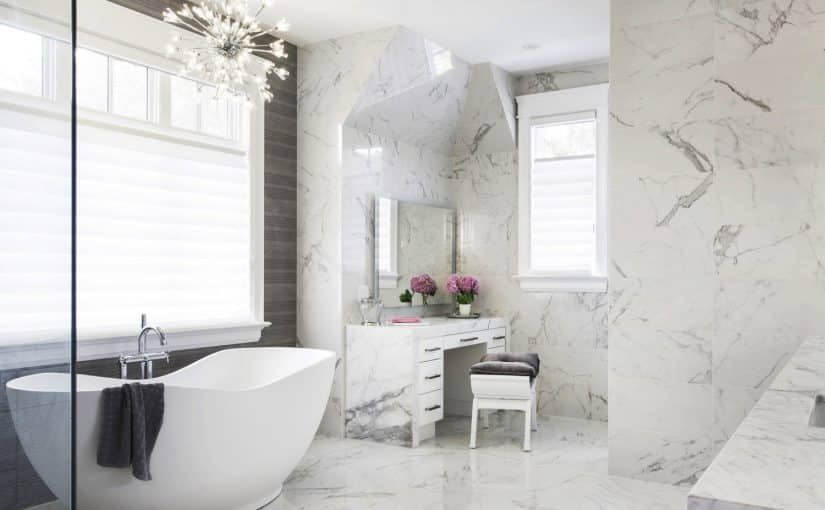 Normandale white marble bathroom design