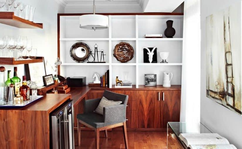 80 John LUX Design walnut built ins custom millwork home office
