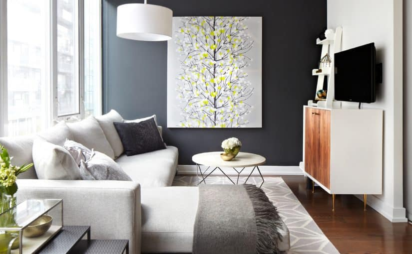 King West Black Wall Loft Grey Sectional And Nesting Tables