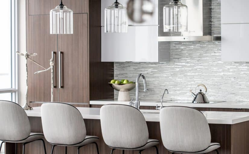 Weaver by LUX Design kitchen with glass pendants
