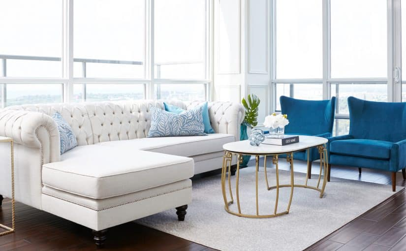 Legion Road, traditional condo design, white tufted sofa, blue arm chairs