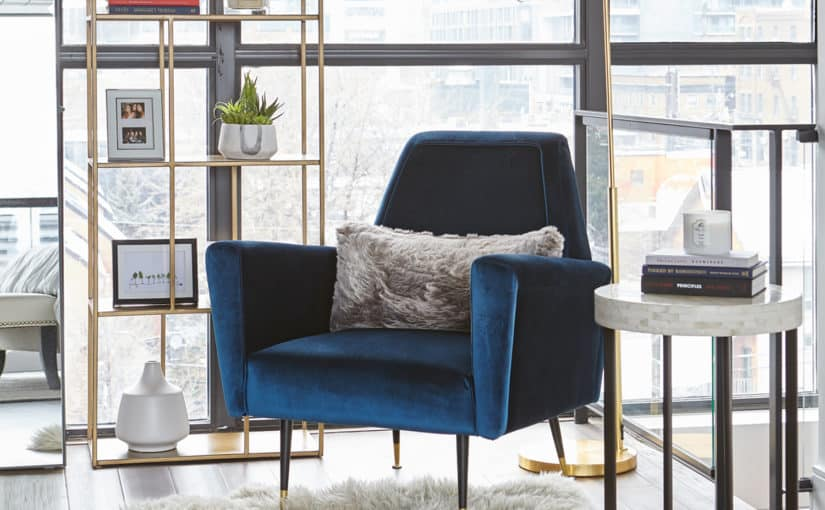 blue velvet accent chair - bedroom interior design toronto