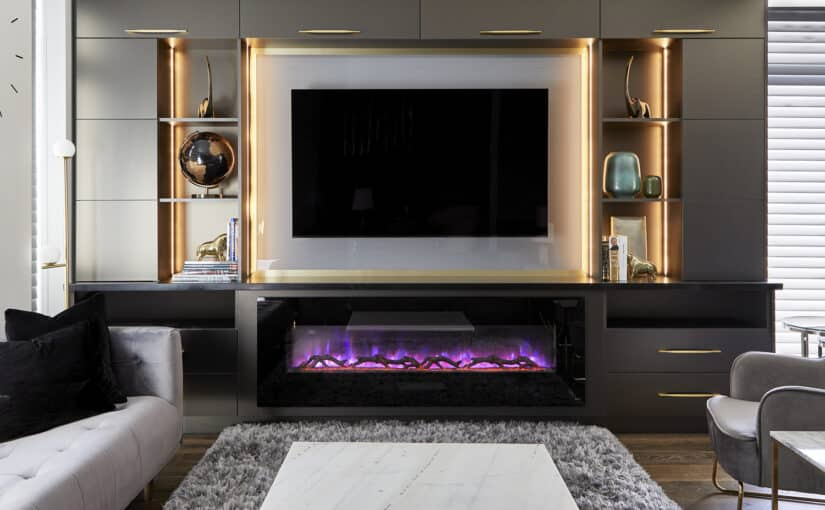 living room with modern fireplace and tv